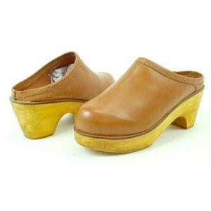 BDG tan faux leather clogs